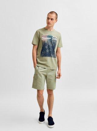 Svetlozelené tričko s potlačou Selected Homme Collin