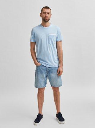 Svetlomodré tričko s vreckom Selected Homme Robert