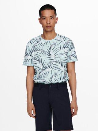 Svetlomodré vzorované tričko ONLY & SONS Iason