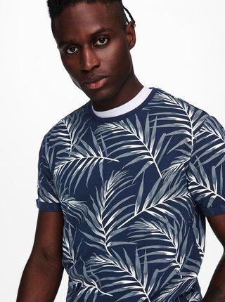 Tmavomodré vzorované tričko ONLY & SONS Iason