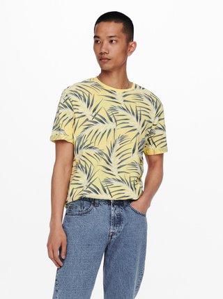 Žlté vzorované tričko ONLY & SONS Iason