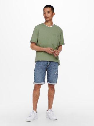 Zelené voľné basic tričko ONLY & SONS Gavin