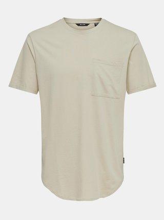 Béžové voľné basic tričko ONLY & SONS Gavin