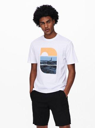 Biele tričko s potlačou ONLY & SONS Plaza