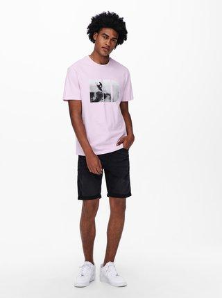 Světle fialové tričko s potiskem ONLY & SONS Plaza