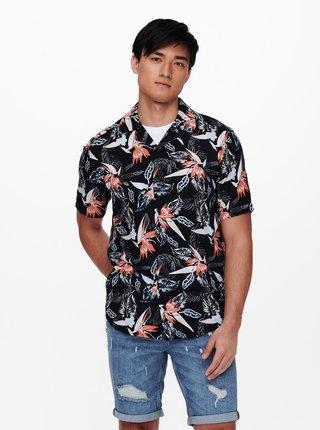 Čierna vzorovaná košeľa s krátkym rukávom ONLY & SONS Klopp
