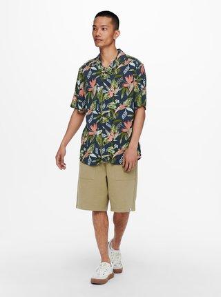 Modrá vzorovaná košeľa s krátkym rukávom ONLY & SONS Klopp