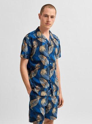 Modrá vzorovaná košeľa s krátkym rukávom Selected Homme Joel