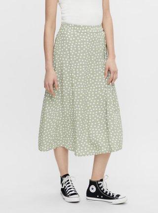 Světle zelené květovaná midi sukně Pieces Selma