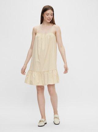 Béžovo-biele pruhované šaty Pieces Palli