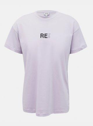 Světle fialové volné tričko AWARE by VERO MODA Obenta