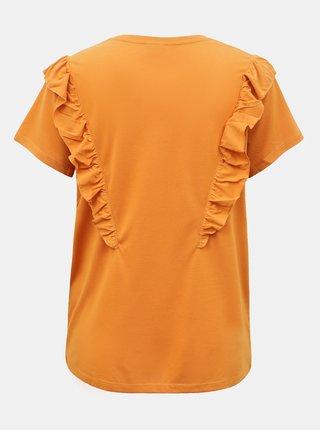Oranžové tričko s volánem Jacqueline de Yong Karen