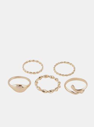 Sada pěti prstenů ve zlaté barvě Pieces Jifra