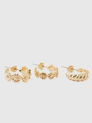 Sada troch párov kruhových náušnic v zlatej farbe Pieces Taspri