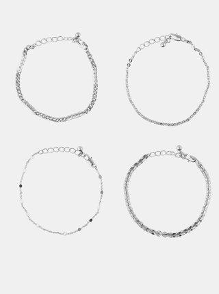 Sada čtyř náramků ve stříbrné barvě Pieces Tona