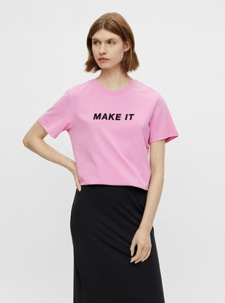 Ružové tričko s nápisom Pieces Niru