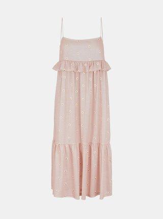 Ružové kvetované šaty Pieces Mary