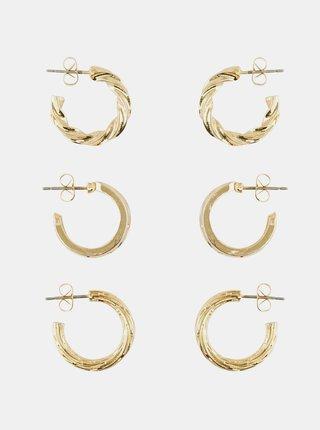 Sada troch párov kruhových náušnic v zlatej farbe Pieces Toopa