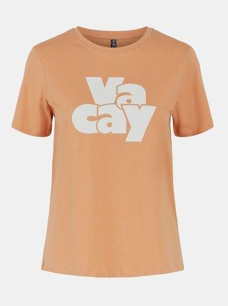 Oranžové tričko s potlačou Pieces Tamaris