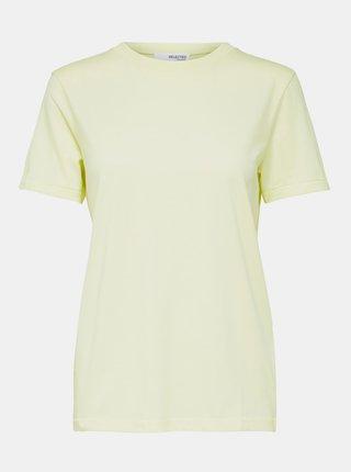 Světle žluté basic tričko Selected Femme Perfect