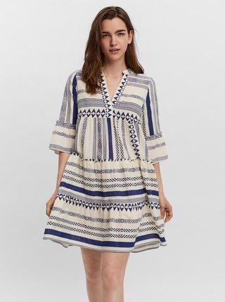 Modro-krémové vzorované volné šaty VERO MODA Dicthe