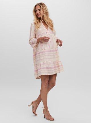 Růžovo-krémové vzorované volné šaty VERO MODA Dicthe