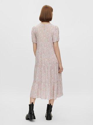 Růžové květované midi šaty Pieces Anneline