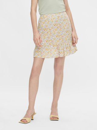 Žltá kvetovaná sukňa Pieces Miko