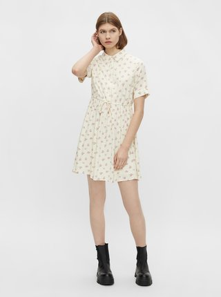 Krémové kvetované košeľové šaty Pieces Thea