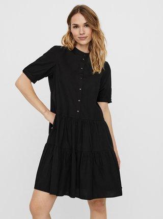Čierne košeľové šaty VERO MODA Delta