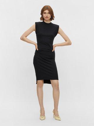 Černé pouzdrové šaty s ramenními vycpávky Pieces Asli