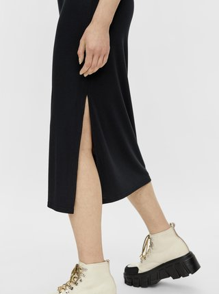 Čierna sukňa s rozparkom Pieces Tamara