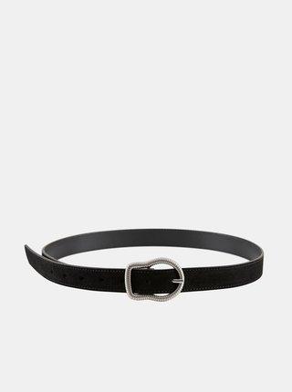 Čierny kožený opasok Pieces Tina