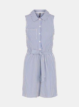 Modro-biele pruhované košeľové šaty Pieces Tamar