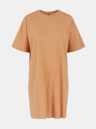 Svetlohnedé basic šaty Pieces Taryn