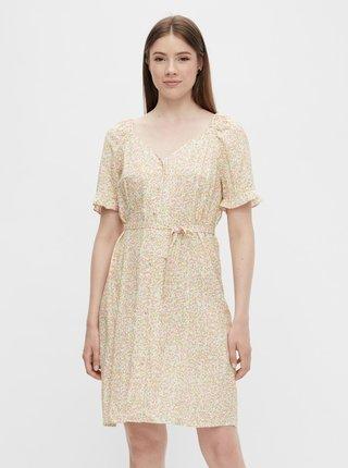 Krémové květované šaty se zavazovaním Pieces Timberly