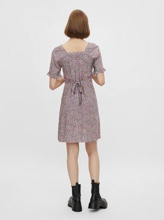 Fialové kvetované šaty so zaväzovaním Pieces Timberly
