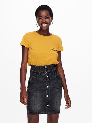 Horčicové tričko s nápisom Jacqueline de Yong Dina
