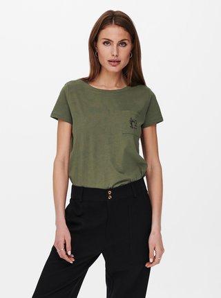 Khaki tričko s nápisem Jacqueline de Yong Dina