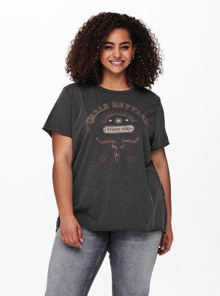 Tmavě šedé tričko s potiskem ONLY CARMAKOMA Miko