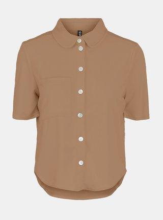 Hnedá košeľa s krátkym rukávom Pieces Teri