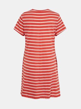 Bílo-korálové pruhované šaty s kapsami ONLY May
