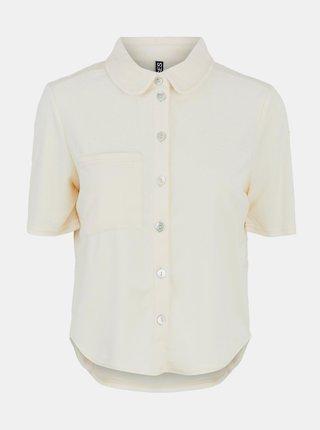 Krémová košeľa s krátkym rukávom Pieces Teri