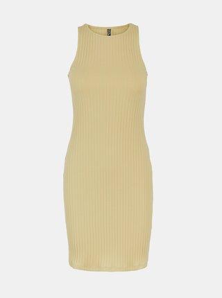 Béžové pouzdrové šaty Pieces Tiana