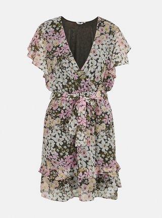 Zeleno-ružové kvetované šaty ONLY Pine