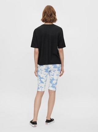 Bielo-modré vzorované krátke legíny Pieces Tabbi Biker shorts