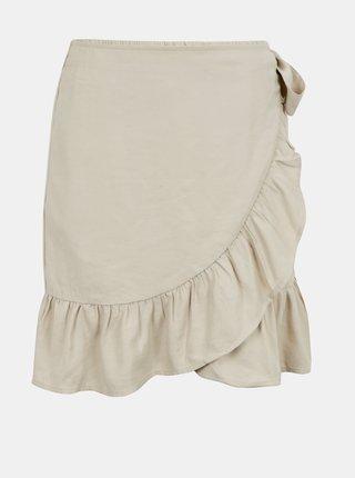 Krémová zavinovacia sukňa s volánom ONLY Olivia