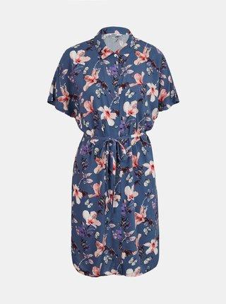Tmavě modré květované košilové šaty ONLY Nova