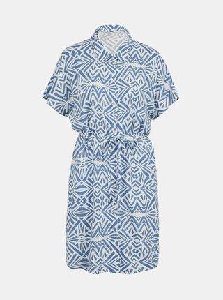 Bielo-modré vzorované košeľové šaty ONLY Nova
