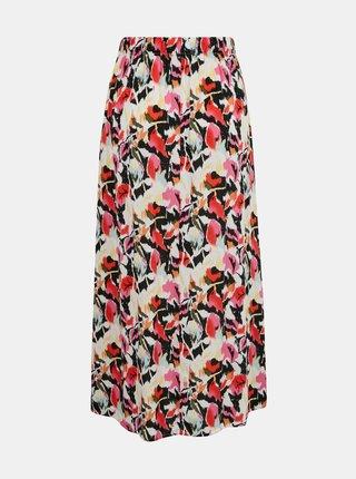 Žlto-ružová vzorovaná maxi sukňa s gombíkmi ONLY Nova